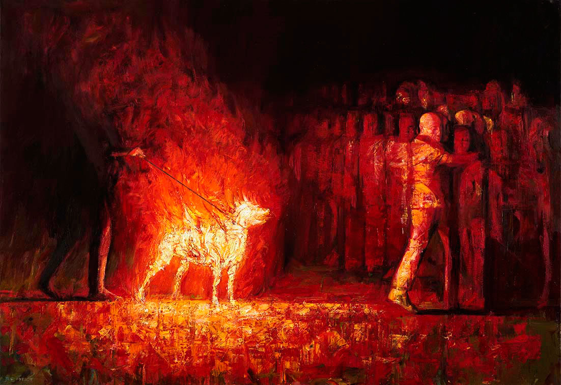 Burning dog 2, Oil on canvas, 80 cm X 116 cm (Selected work for the 6th Beijing Bienalle)