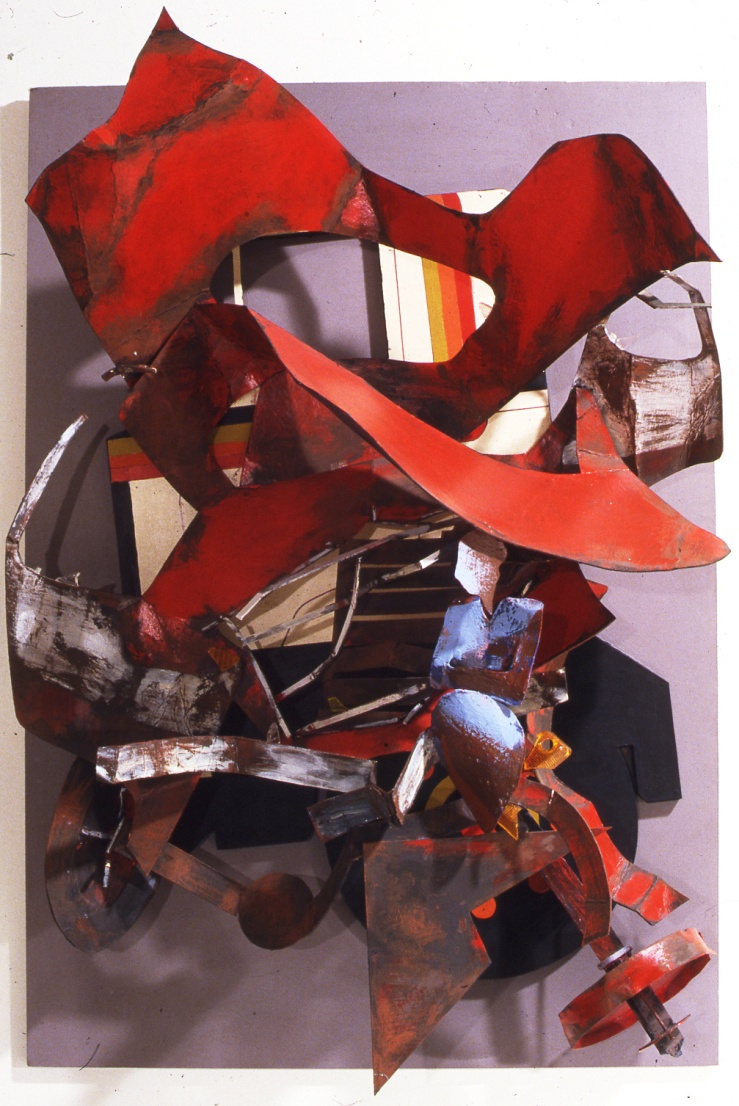 Fragmentation- Red Relief, 100X70  X60, mixed media on mdf, 1987, Athens