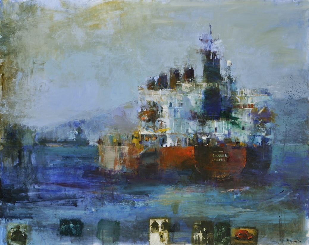 Yiannis Adamakis, A voyage (Ένα ταξίδι), 2013, 120X150 cm, acrylics on canvas