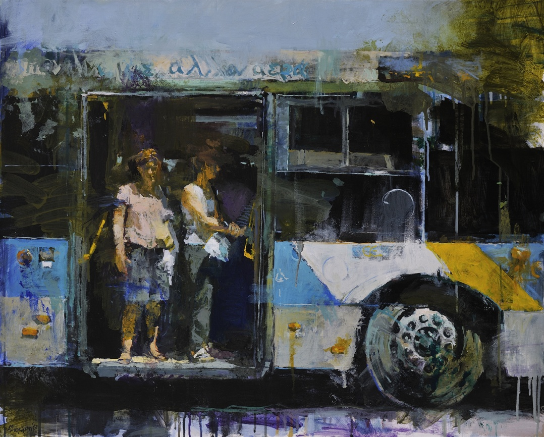 Yiannis Adamakis, At the bus stop (Στη στάση), 2017, 80Χ100 cm, acrylics on canvas